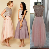 Wholesale real images Special two pieces evening dresses sparkly sequins asymmetrical chiffon formal bridesmaid prom dress