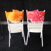 big lots chairs - 100PCS A Hand Made Big Organza Flower Chair Band For Chair Decoration Use