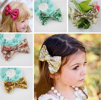 Wholesale New Baby barrettes new Europe and cute girls children sequins hairpin large bow hair jewelry colors