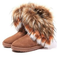 Wholesale New Fashion Fox Fur Warm Autumn Winter Wedges Snow Women Boots Shoes GenuineI Mitation Lady Short Boots Casual Shoes
