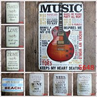 Wholesale New Hot Sale Guitar Poetry English Letters Retro Vintage Metal Signs Garage Coffee Store Bar Metal Painting Home Decoration Crafts Tin Signs