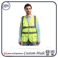 Wholesale Custom reflective vest pockets Construction gement work wear personnel Article reflective vest