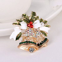 Wholesale 2016 New Christmas Jingle Bells Brooch Pin Crystal Rhinestone Santa Claus Fashion Jewelry Gift Garment Accessory L047