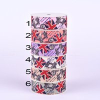Wholesale 25mm Union Jack Polyester Satin Ribbon Wedding Party Favor Decoration Flower Bow Hairbow Jewelry Accessories Gift Packing Ribbon ya