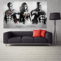batman wall paper - Batman vs Superman Poster Print x32inches Style Art Waterproof Back Glue Paper Decorative Wall Stickers