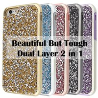 Wholesale Silver Diamond Phone Cases - Premium bling 2 in 1 Luxury diamond rhinestone glitter back cover phone cases For iphone 7 5 6 6s plus case Package available