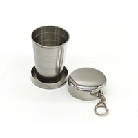 Wholesale 75ML Stainless Steel Collapsible Cup Retractable Travel Cup Pocket Cups Keychains Holder Outdoor Sport Fold Water Bottle Cups