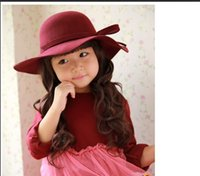 big brim hats - Wool Baby Felt Hat Baby Bowknot Girl Big Brim Floopy Cap Children Accessories Kid Fedoras Christmas Gift A7034