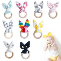 Wholesale 1 New Qualified Handmade Wooden Natural Baby Teething Ring Chewie Teether Bunny Sensory Toy Gift