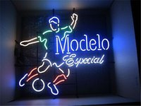 Wholesale 2016 LED Modelo Especial Soccer Real Glass Neon Light Signs Bar Pub Restaurant Billiards Shops Display Signboards quot x14 quot