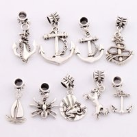 antique boat anchor - 90Pcs mixed Antique Silver Anchor Horse Frog Spider Sailing Boat Charm Beads Dangle Fit European Bracelets Jewelry DIY BM12