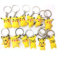 Wholesale Mix Sale Cartoon Keychains Fashion PVC D Cute Animals Pikachu Pendants Stainless Steel Keyrings Promotional Gifts
