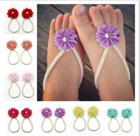 anklet socks white - Baby Girls Barefoot Pearl Flower Foot Band Toe Rings Floral Wedding Sandals Socks Anklets Prop Headband Hair Band Accessories
