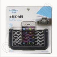 automotive adhesives - 3000pcs CCA3697 High Quality Car Net Bag Car Organizer Nets Automotive Pockets With Adhesive Visor Car Syling Bag Mobile Phone Storage Tools