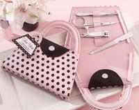 Wholesale Wedding Favors Pink Polka Dot Purse Manicure Set Bridal Shower Gift Pedicure Kit For Guest sets