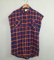 achat en gros de manchette zipper-Gros-2016 Top peur de dieu Plaid Flannel Shirt Raw Edge Cuff Hommes Side Zipper design Debardeur Justin Bieber