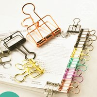 Wholesale 10pcs Colorful Metal Hollowed out Binder Clip Paper Clips Clamp Foldback Clip Office Binding Supply Papelaria