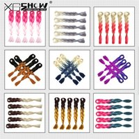 Cheap Kanekalon synthetic Braiding hair 24inch 100g Ombre Two Tone color Xpression jumbo braids Hair Extensions 43 colors Optional For Black Women