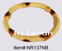 Wholesale carbonized black and nautural two tone color bamboo root bangle bracelet