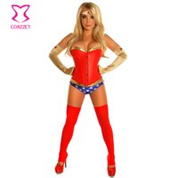 adult superhero - Gold PVC Red Leather Party Nightclub Plus Size Sexy Woman Cosplay Costume Superhero Superwoman Adult Costumes Halloween Feminina