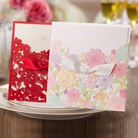 Wholesale Delicate Romantic Colorful Flower Elegant laser cut Wedding Invitations Card Envelope Invitations for Wedding Party