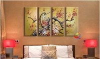 Wholesale Pure hand painted oil painting Three dimensional plum abstract bedroom adornment the sitting room porch hang a picture