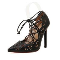 high heel open toe shoes - 2016 Women Pumps Sexy Pointed Toe High Heels Lace UP Heels Pumps Women Shoes Wedding Shoes sapatos women sandals size35