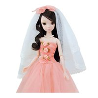 asian dress style - 2016 New Black Hair Asian Style Red Beautiful Ball Gown Wedding Dress With Kerchief Barbie For Gift