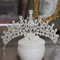 Wholesale vintage silver crystal tiaras beach bridal hair accessories rhinestone crowns party wedding jewelry