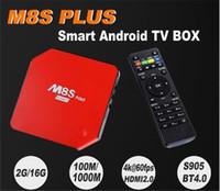 Wholesale 2pcs New Original M8S Plus TV Box Amlogic S905 Android K Quad Core GB GB G GHz Dual WIFI HDMI BT4 KODI Media Player