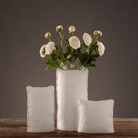ceramic flower vase - Pure Handmade Porcelain Three different Sizes In Pillow Shapes Flower Vases Luxury Modern Style Decorative Ceramic Art Vase White Home Déco