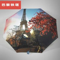 Wholesale Eiffel Tower rose painting for men and women three automatic folding umbrella umbrella