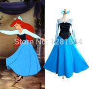 al por mayor vestido azul ariel-Nueva llegada del envío libre por encargo La pequeña princesa Ariel Blue Dress Cosplay de la sirena