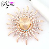 Wholesale Pryme Large Flower Brooch Sun Design Fashion Zinc Alloy Rose Gold Plated Wedding Jewelry Dress Brooch Pins Accessories X