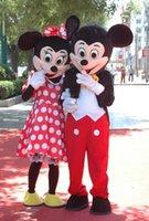 2pcs de la venta directa de Mickey Minnie del traje de la mascota del traje de la mascota de Mickey Mickey Mouse traje de la mascota de Minnie del traje de la mascota