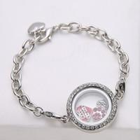 Cheap 2016 Fashion Glass Floating Locket Heart Charm Bracelets Magnetic Living Memory Locket crystal Bracelets Jewelry for Women Wholesale Bijou