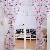 Горячий высокое качество Гостиная Спальня Окно просвечивающих Панель Современный цветочный узор Тюль занавески