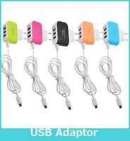 ac adaptor cable - US EU Plug USB Wall Chargers V A LED Adapter With Cable Travel AC Power Adaptor With Triple USB Ports For Samsung LG HTC