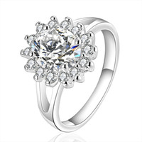 Wholesale Hot Sale Women Elegant Jewelry Sun Ring Fashion Silver Flower Type Exquisite Crystal Ornaments