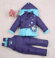 Wholesale Baby Kids Clothing Children Down Coat Set Fashion Outdoor Jacket Suspender Trousers Twinset Suit Girls Boy Child Winter Outwear