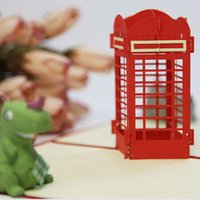 pop up booth - London red telephone booth pop up card d card England laser cut card British card