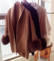 Wholesale 2015 fashion womens wool sweater with real fox fur cuff open stitch sweaters for women female dropship