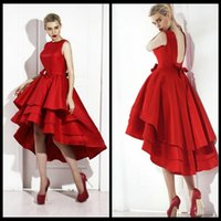 apple bottom skirt - Latest Tea Length Prom Dresses Custom Made Elegant Red Color Short Front Long Back Tiered Satin Skirt Bottom Prom Dress