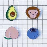 avocado plants - X042 Cute Alloy Avocado Monkey Peach Blueberry Metal Oil Drop Brooch Pins Fashion Jewelry