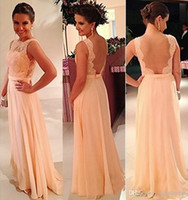 Wholesale 2017 Cheap Backless Chiffon Lace Bridesmaid Dresses Hunter Red Coral Silver Lavender Purple Champagne Sexy Chiffon Lace Prom Dresses Vestido