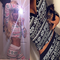 Wholesale 2016 Hot PINK Print V Neck Short Top and Long Pants Set Fashion Causal Women Clothing