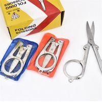 Wholesale Diamond Spear Hot Sale Home Portable Folding Scissors Mini Folding Foldable Scissors Travel Scissor Color Silver