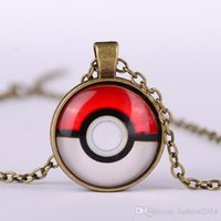 american glass products - 2016 Hot New glass cabochon necklace Poke Go Cartoon Fashion Peripheral Products Fashion Accessories Poke Ball Shape Time Gemstone Necklace