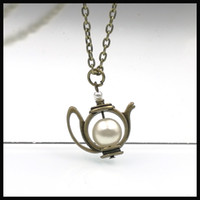 alice pearl necklace - Alice in wonderland inspired teapot necklace pearl tea time charm necklace NW179