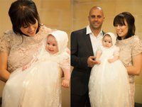Wholesale Soft Lace Christening Dresses For Baby Girls With Sleeves Jewel Long Babys Baptism Dress First Communion Gowns